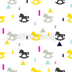 Happy Rocking Horses Seamless Vector Pattern Design