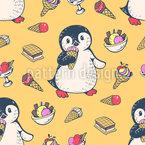 Eiscreme-Sandwich-Pinguin Muster Design