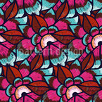 Embroidered Flowers Seamless Vector Pattern Design