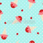 Ice Cream And Cherries Seamless Vector Pattern Design