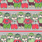 Weihnachts Teddybären Nahtloses Vektormuster