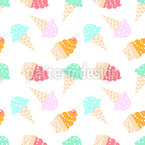 Icecream With Cherry Seamless Vector Pattern Design