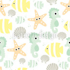 Baby Sea Animals Seamless Vector Pattern Design