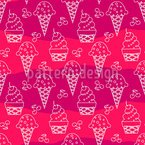 Ice Cream Cone Silhouettes Seamless Vector Pattern