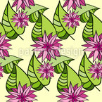 Star Flowers and Leaves Design Pattern