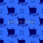 Big Cartoon Whales Seamless Pattern