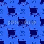 Große Cartoon Wale Nahtloses Muster