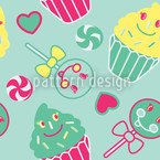 Happy Desserts Mint Seamless Vector Pattern Design