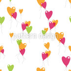 Dancing Heart Balloons Seamless Vector Pattern Design