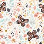 Blumenwiese und Schmetterlinge Vektor Design