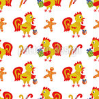 Funny Rooster with gift boxes Design Pattern