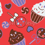 Happy Desserts Red Seamless Vector Pattern Design