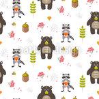 Bären und Waschbären im Wald Vektor Muster