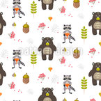 Bears and Raccoons in Forest Vector Pattern
