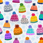 Knitted Beanies Seamless Pattern