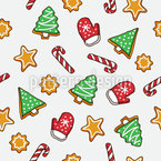 New Years Gingerbread Seamless Vector Pattern Design