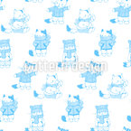 Cool Cats Seamless Vector Pattern