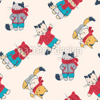 Winter Kittens Seamless Vector Pattern Design