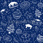 Winter Desserts Seamless Vector Pattern Design