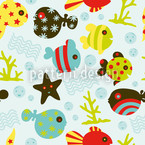 Waterworld Icy Blue Seamless Vector Pattern Design