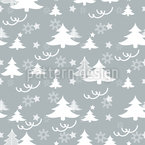 Festive Winter Trees Seamless Vector Pattern Design