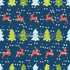 Reindeer In The Winter Forest Pattern Design