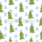 Christmas Trees and Snowflakes Vector Ornament