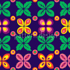 Flower Bed Round Seamless Vector Pattern Design