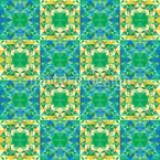 Checkered Polygon Kaleidoscope Seamless Pattern