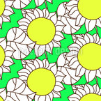 Abstract Sunflowers And Leaves Seamless Vector Pattern Design