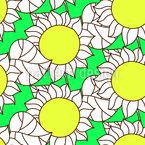 Abstrakte Sonnenblumen und Blätter Nahtloses Vektor Muster