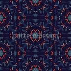 Dunkle Geometrische und Florale Ornamente Rapportiertes Design