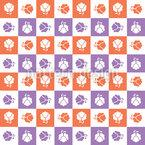 Checkerboard Blossoms Vector Ornament
