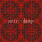 Chinese Wheels Seamless Vector Pattern