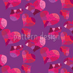 Lovely Ornate Hearts Seamless Vector Pattern Design