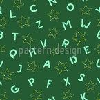 Abstrakte Sterne und Buchstaben Nahtloses Vektormuster
