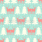 Snow Reindeer Seamless Vector Pattern Design