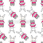 Rabbits with love letters Repeat Pattern