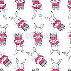 ラブレターを持つウサギ シームレスなベクトルパターン設計
