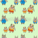 Cute Owl Family Pattern Design