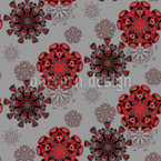 Folk Winter Flowers Vector Ornament