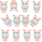 Owl Twins Seamless Pattern