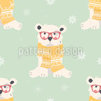 Baby Polar Bears Seamless Vector Pattern