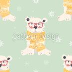 Baby Polarbären Nahtloses Vektor Muster