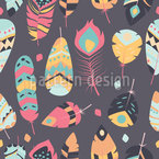 Light Tribal Feathers Seamless Vector Pattern Design