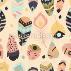 Ritual Feathers Seamless Vector Pattern Design