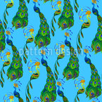 Peacocks Seamless Vector Pattern Design