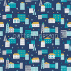 Winter In The City Seamless Vector Pattern Design