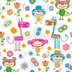 Zoo Animals Seamless Vector Pattern Design