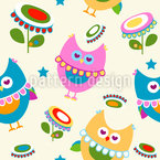 Cute Owls In Love Vector Ornament